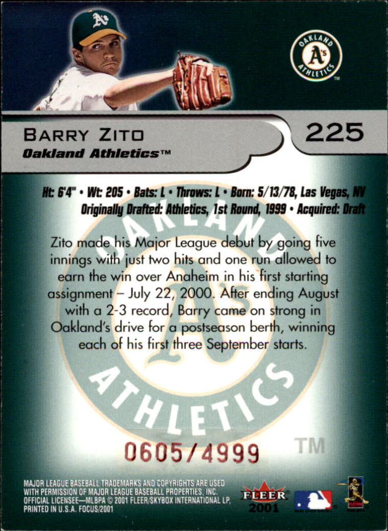 2001 Fleer Focus #225 Barry Zito/4999 back image