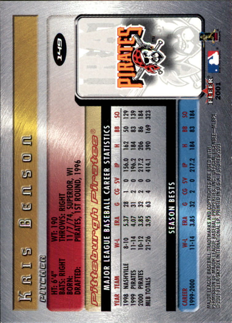 2001 Fleer Futures #149 Kris Benson back image