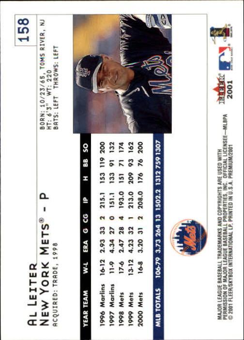 2001 Fleer Premium #158 Al Leiter back image