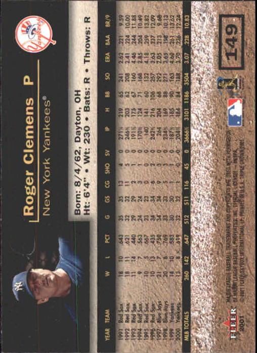 2001 Fleer Triple Crown #149 Roger Clemens back image
