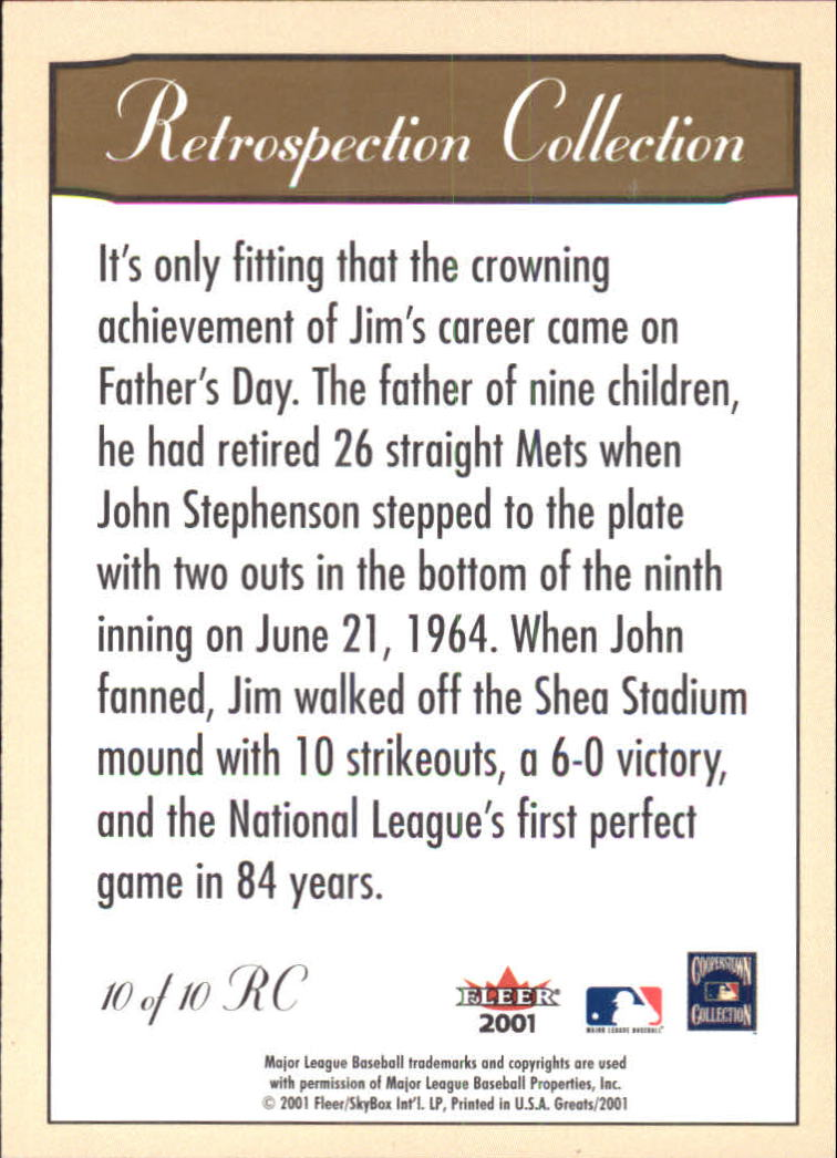 2001 Greats of the Game Retrospection #10 Jim Bunning back image