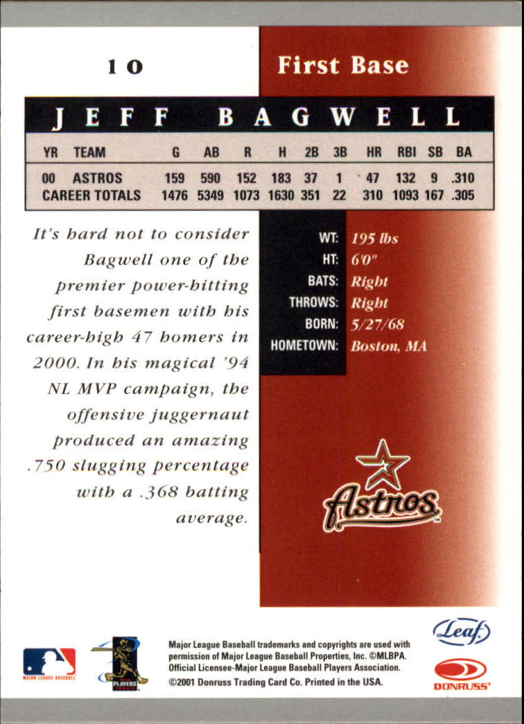 2001 Leaf Certified Materials #10 Jeff Bagwell back image