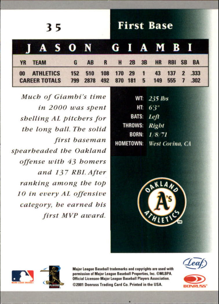 2001 Leaf Certified Materials #35 Jason Giambi back image