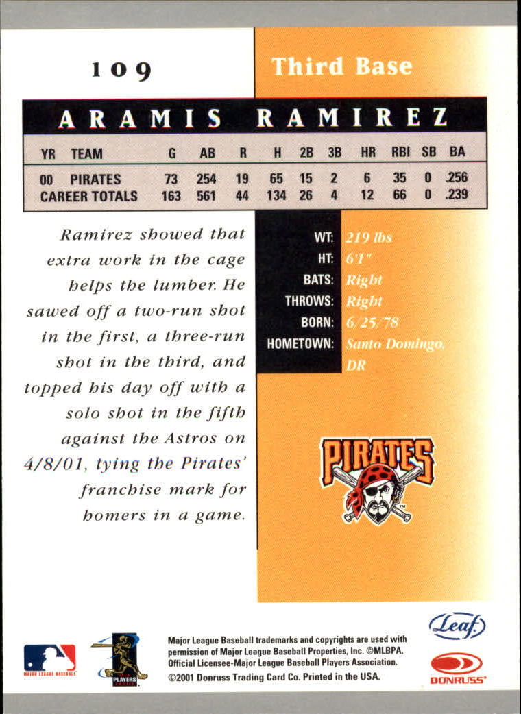 2001 Leaf Certified Materials #109 Aramis Ramirez back image