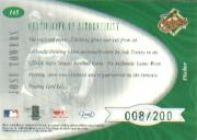 2001 Leaf Certified Materials #145 Josh Towers FF Fld Glv RC back image