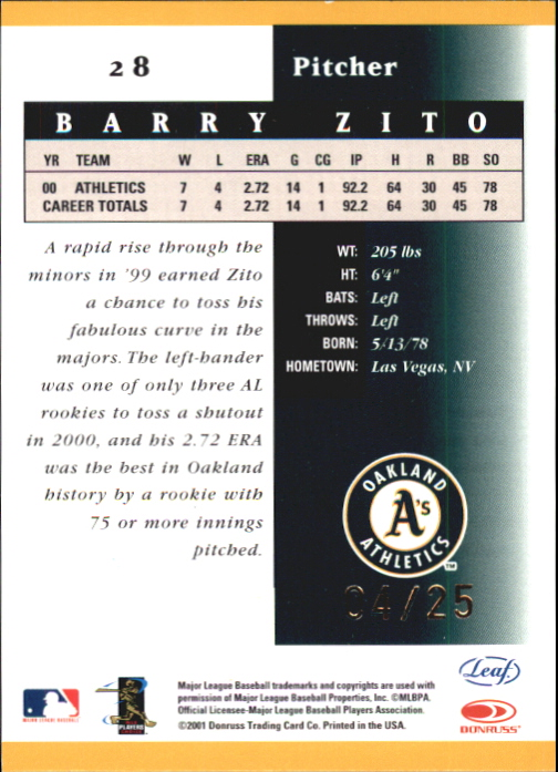 2001 Leaf Certified Materials Mirror Gold #28 Barry Zito back image