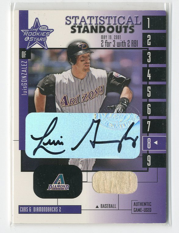 2001 Leaf Rookies and Stars Statistical Standouts Autographs #SS17 Luis Gonzalez