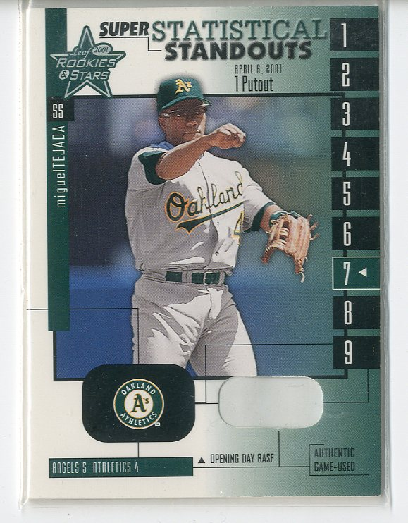 2001 Leaf Rookies and Stars Statistical Standouts Super #SS7 Miguel Tejada