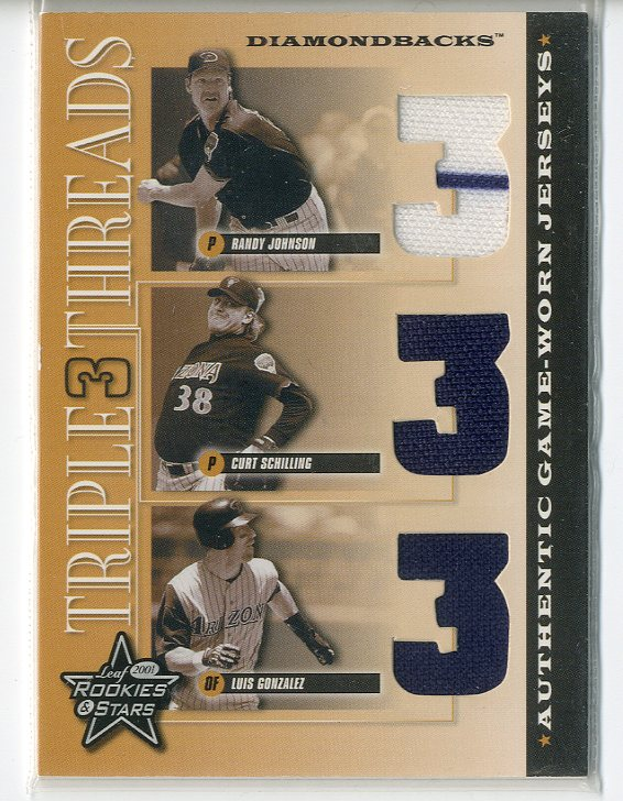 2001 Leaf Rookies and Stars Triple Threads #TT10 Luis Gonzalez/Curt Schilling/Randy Johnson