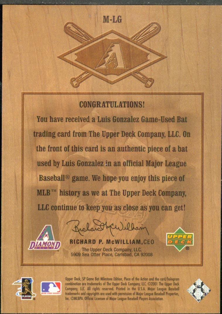 2001 SP Game Bat Milestone Piece of Action Milestone #LG Luis Gonzalez * back image