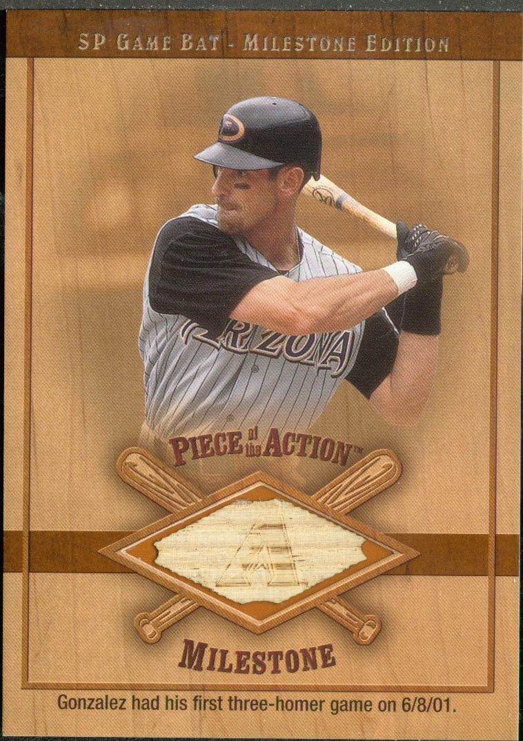 2001 SP Game Bat Milestone Piece of Action Milestone #LG Luis Gonzalez *