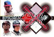 2001 SPx Winning Materials Jersey Trios #SGC Sammy Sosa/Ken Griffey Jr./Chipper Jones