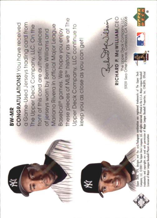 2001 SPx Winning Materials Update Duos #BWMR Bernie Williams/Mariano Rivera back image