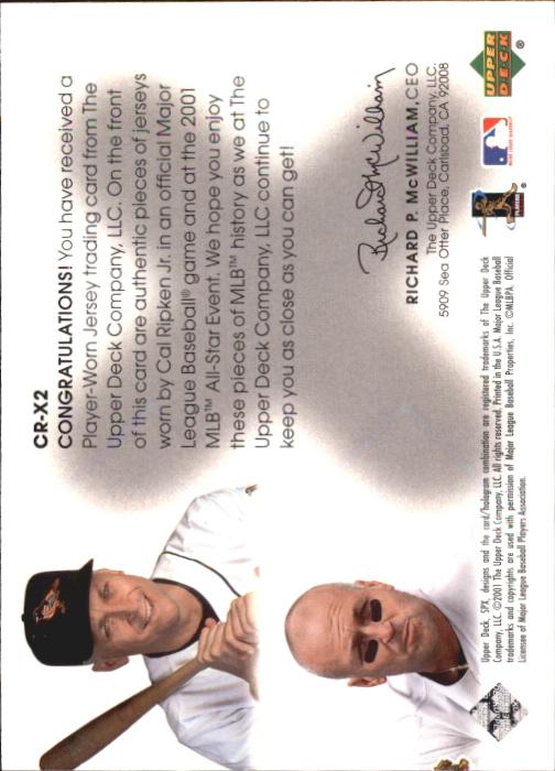 2001 SPx Winning Materials Update Duos #CRX2 Cal Ripken/Cal Ripken back image