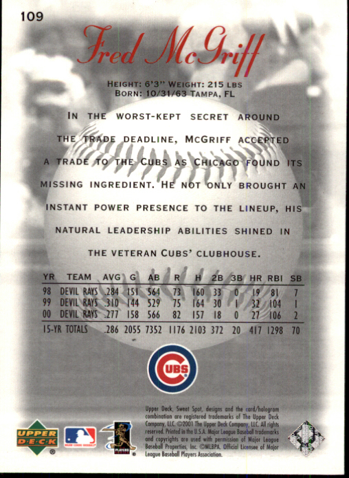 2001 Sweet Spot #109 Fred McGriff back image