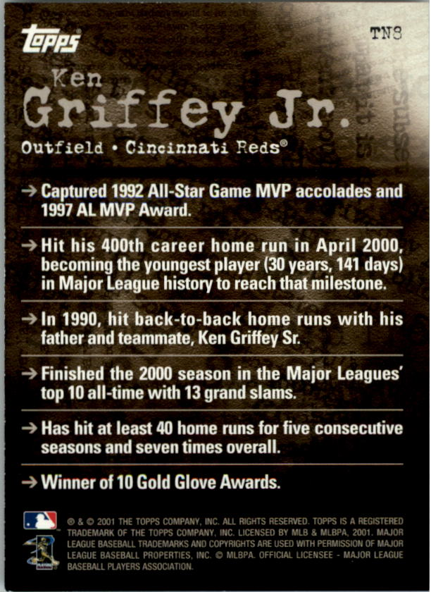 2001 Topps Noteworthy #TN8 Ken Griffey Jr. back image