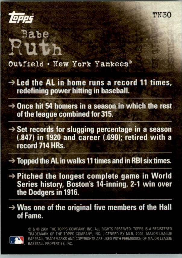 2001 Topps Noteworthy #TN30 Babe Ruth back image