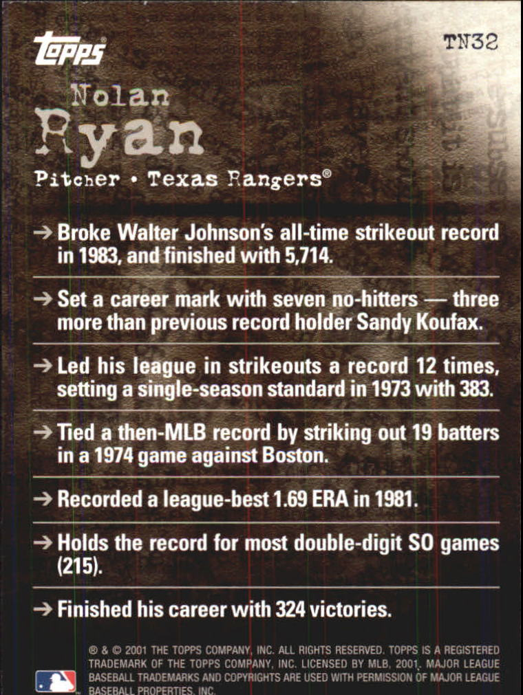 2001 Topps Noteworthy #TN32 Nolan Ryan back image