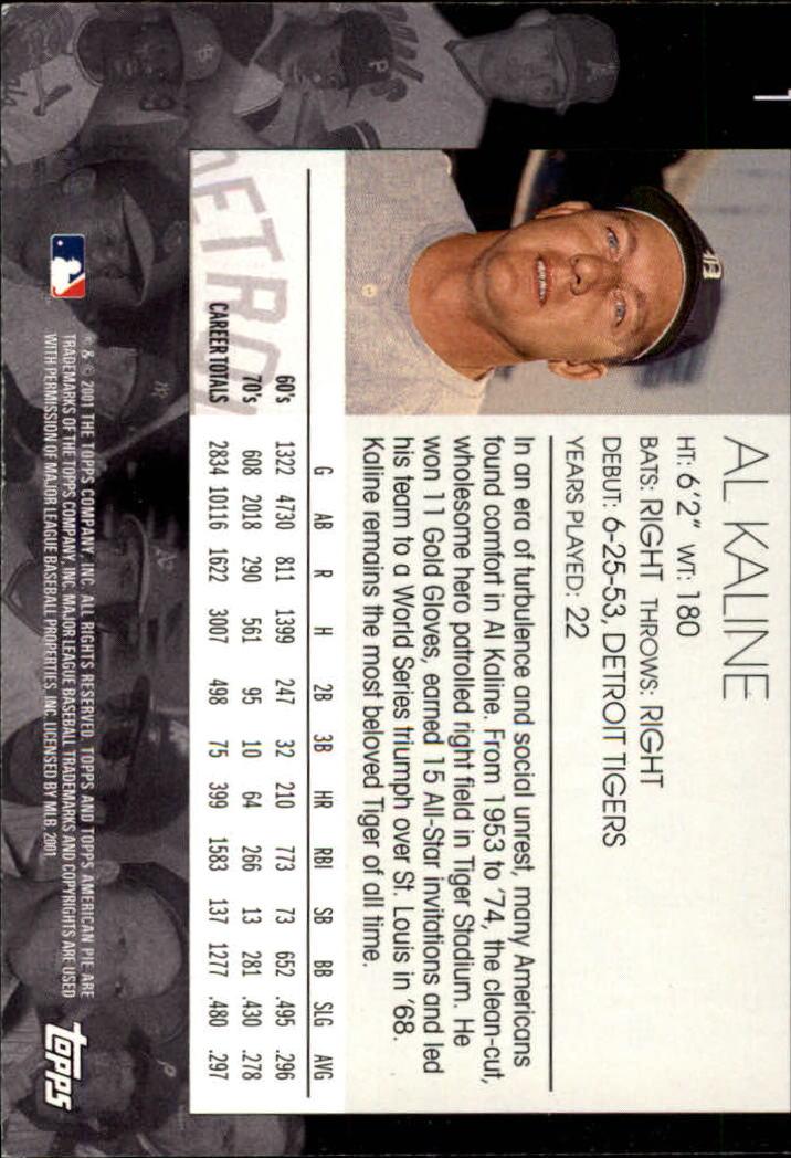 2001 Topps American Pie #1 Al Kaline back image