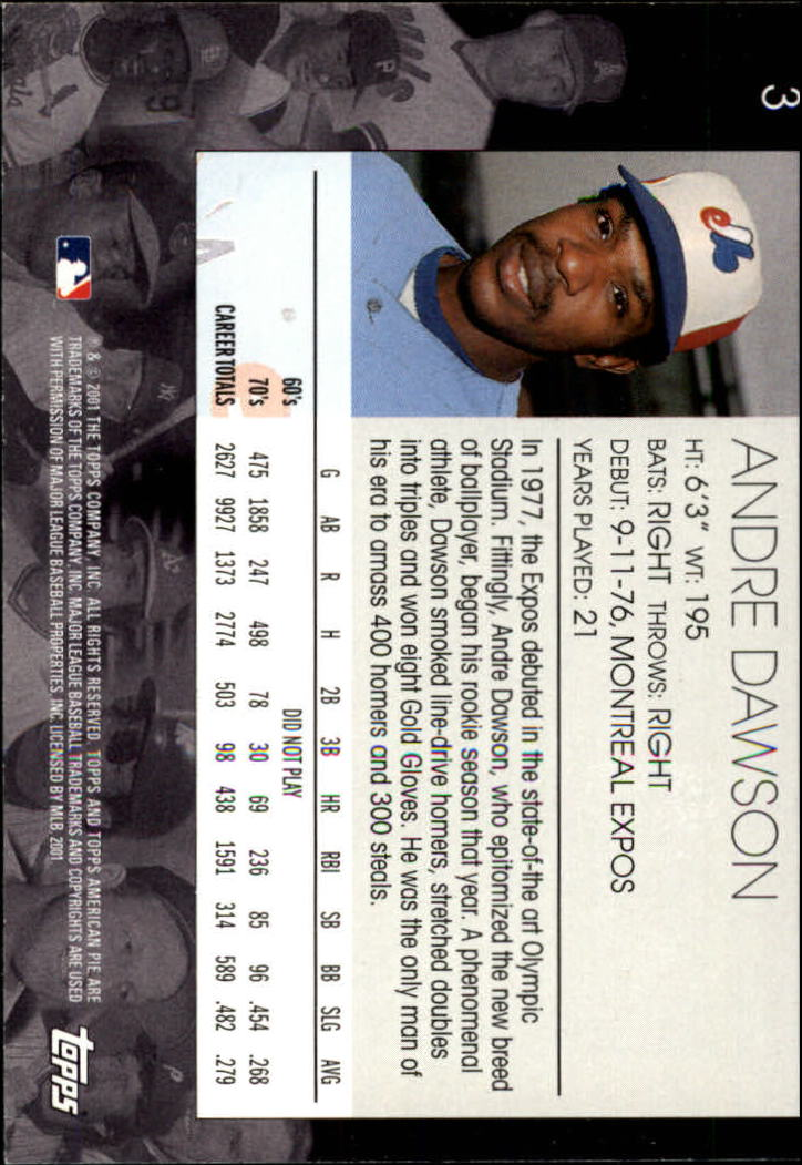 2001 Topps American Pie #3 Andre Dawson back image