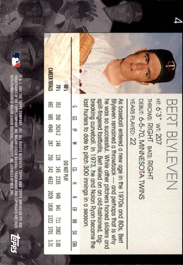 2001 Topps American Pie #4 Bert Blyleven back image