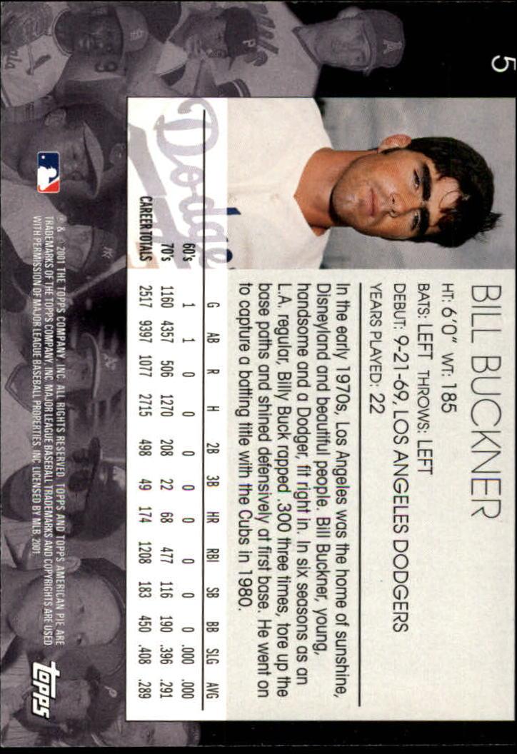 2001 Topps American Pie #5 Bill Buckner back image