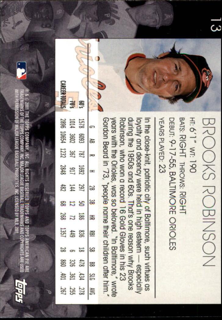 2001 Topps American Pie #13 Brooks Robinson back image
