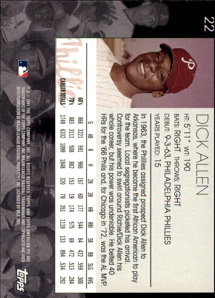 2001 Topps American Pie #22 Dick Allen back image