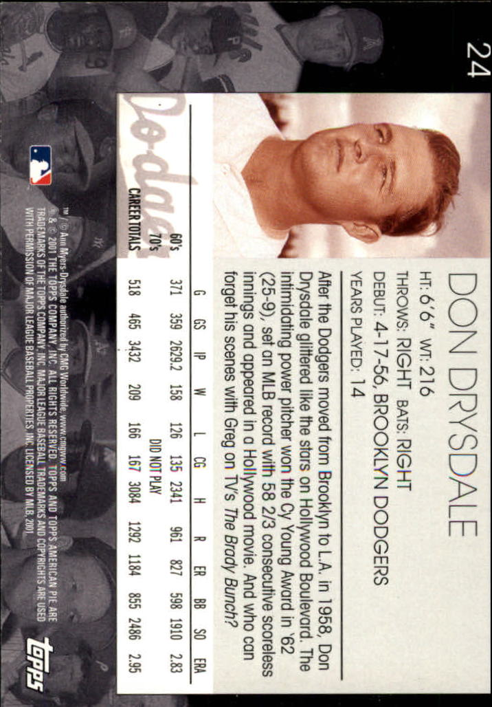2001 Topps American Pie #24 Don Drysdale back image