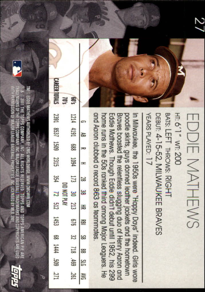 2001 Topps American Pie #27 Eddie Mathews back image