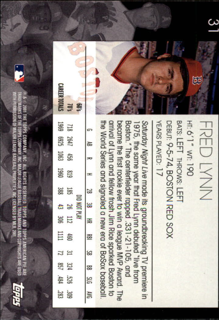 2001 Topps American Pie #31 Fred Lynn back image