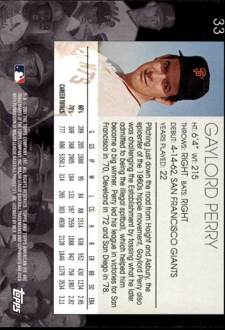2001 Topps American Pie #33 Gaylord Perry back image
