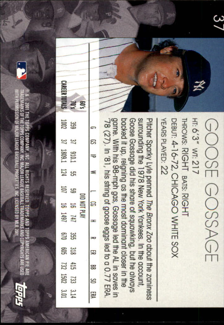 2001 Topps American Pie #37 Goose Gossage back image