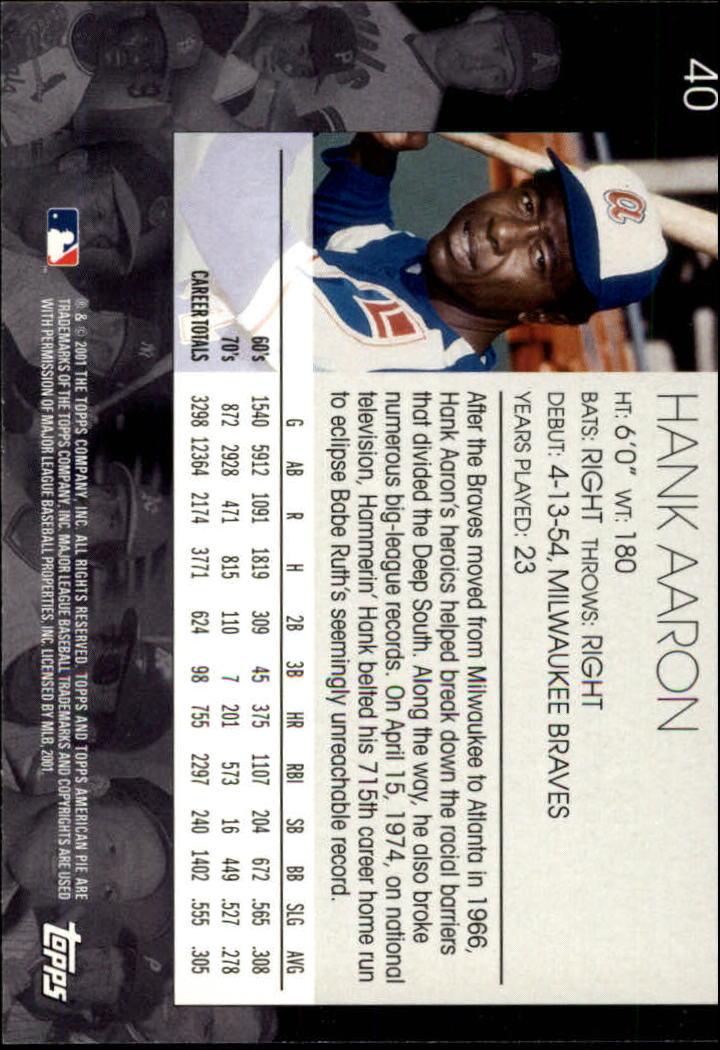 2001 Topps American Pie #40 Hank Aaron back image