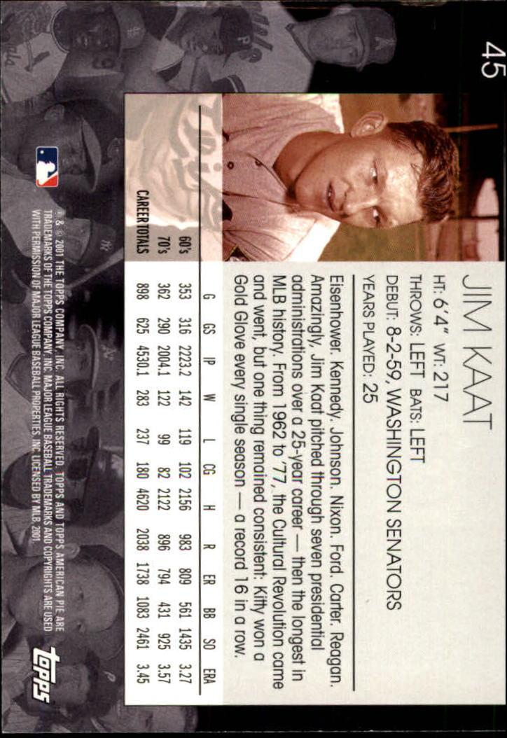 2001 Topps American Pie #45 Jim Kaat back image