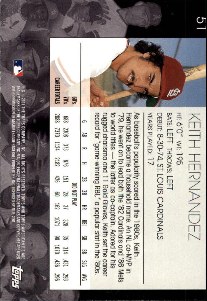 2001 Topps American Pie #51 Keith Hernandez back image
