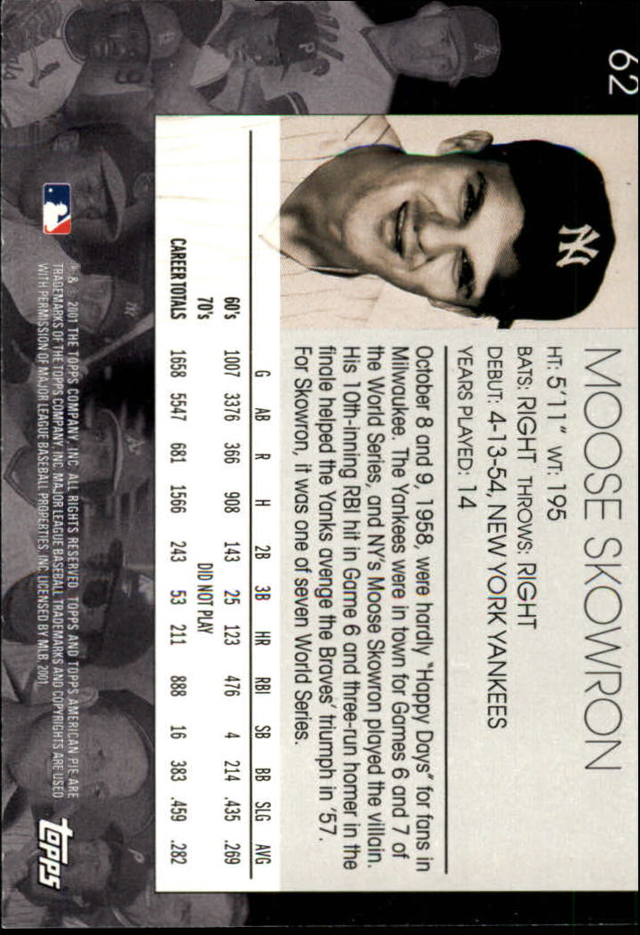 2001 Topps American Pie #62 Moose Skowron back image