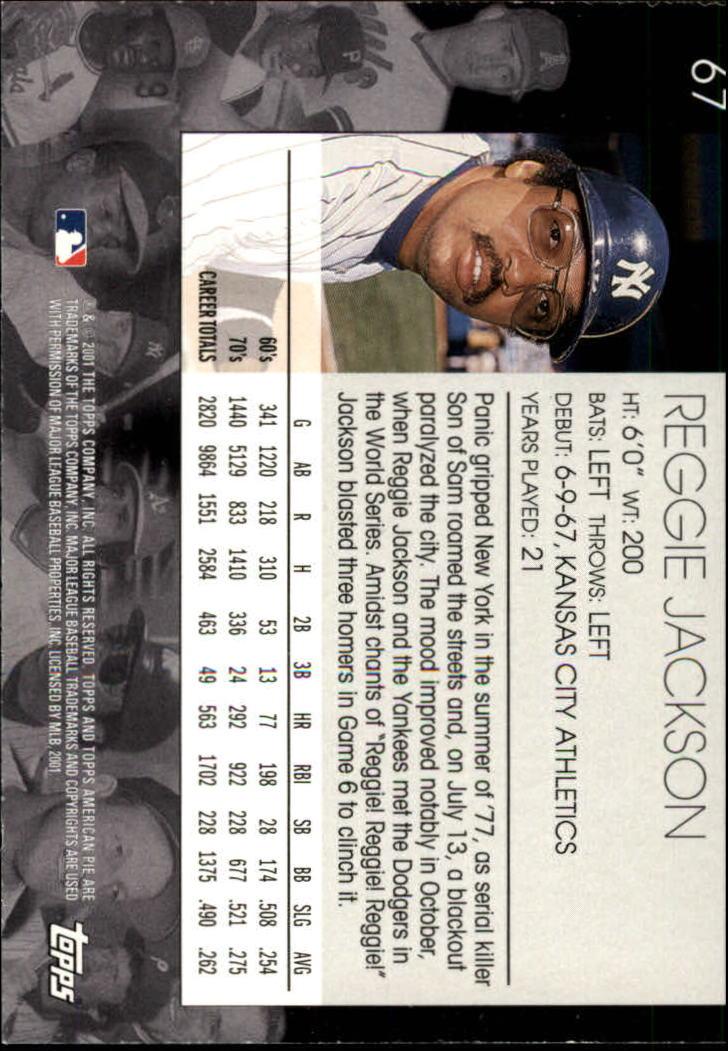 2001 Topps American Pie #67 Reggie Jackson back image