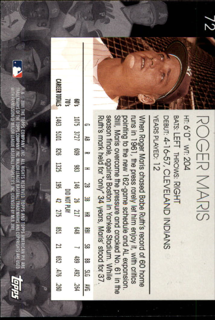 2001 Topps American Pie #72 Roger Maris back image