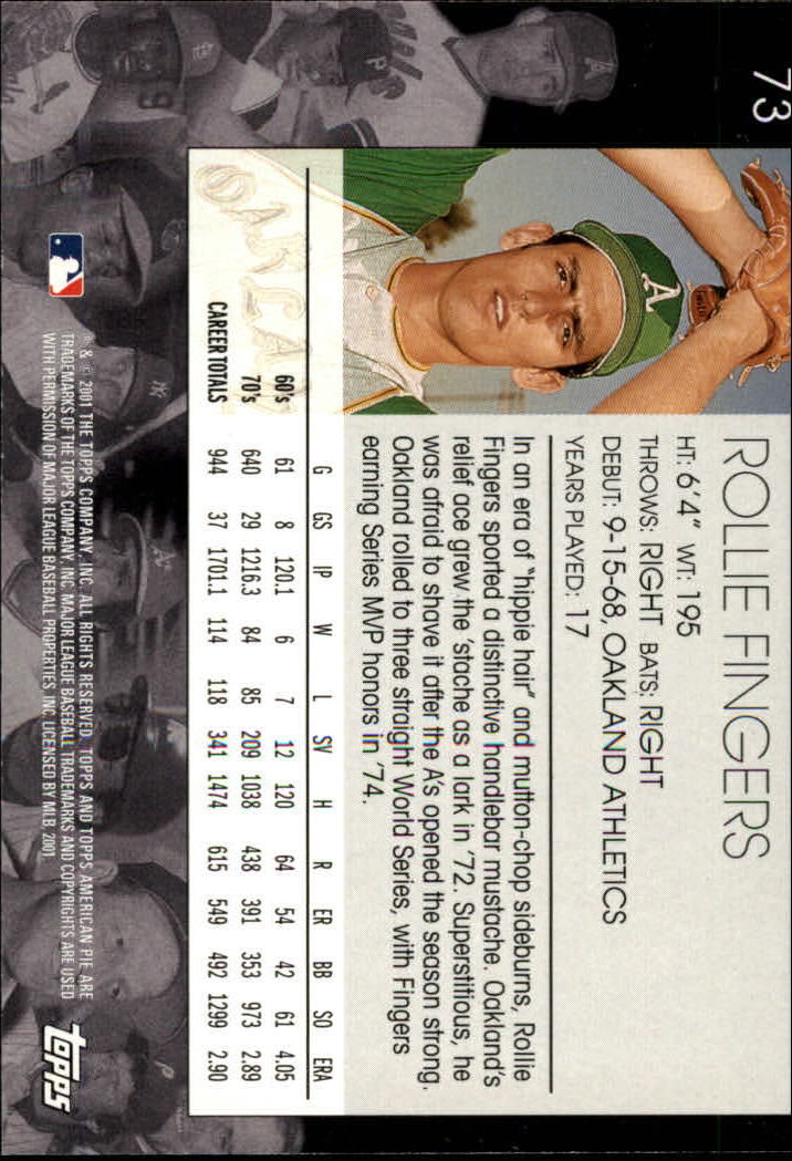 2001 Topps American Pie #73 Rollie Fingers back image