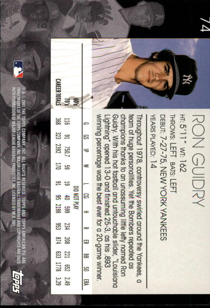2001 Topps American Pie #74 Ron Guidry back image