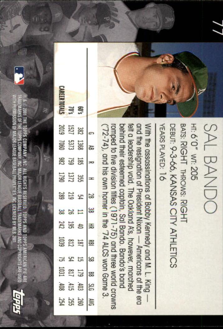 2001 Topps American Pie #77 Sal Bando back image