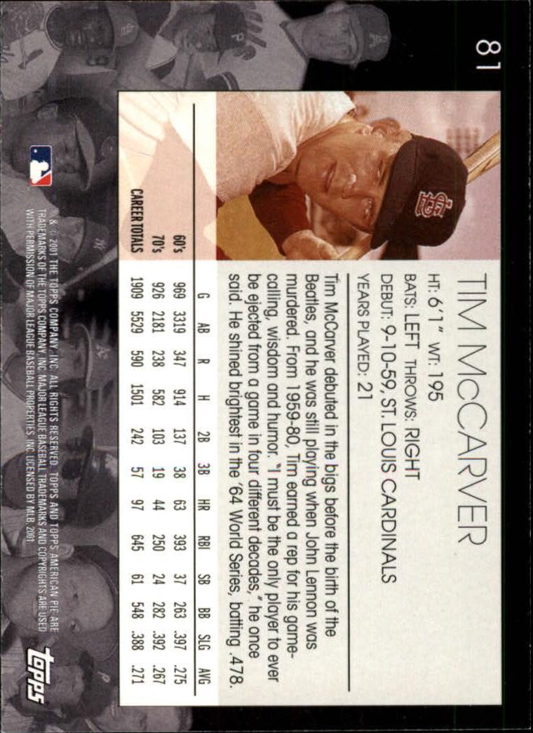 2001 Topps American Pie #80 Thurman Munson back image