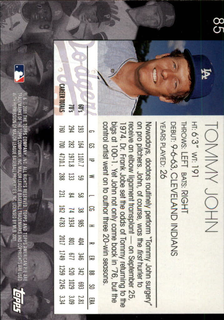 2001 Topps American Pie #85 Tommy John back image