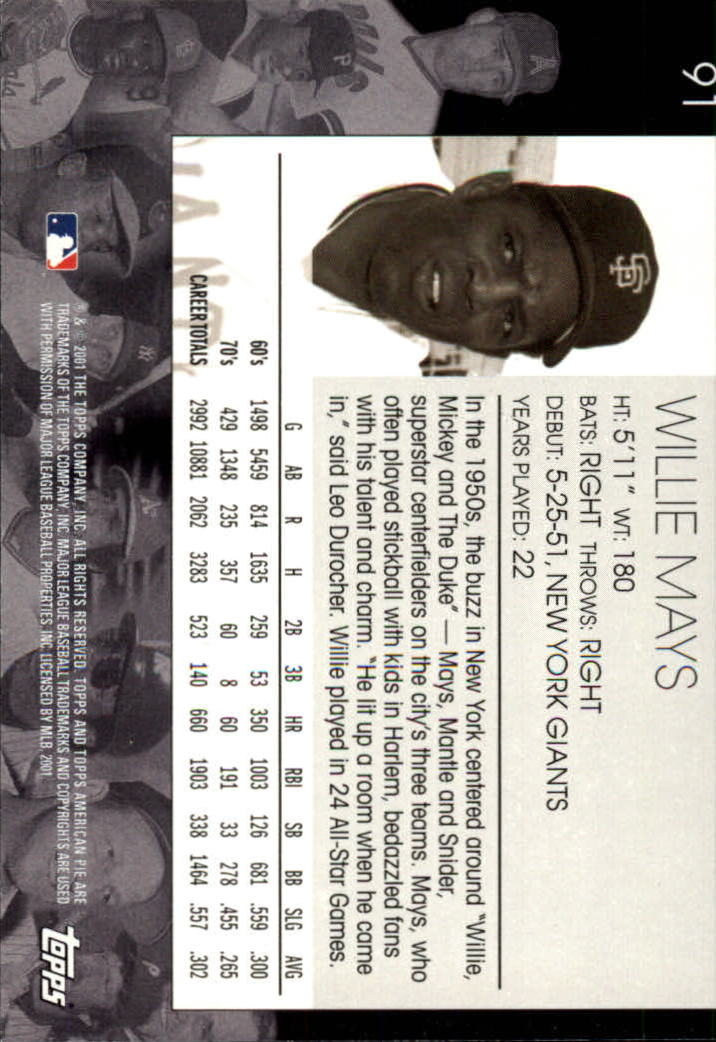 2001 Topps American Pie #91 Willie Mays back image