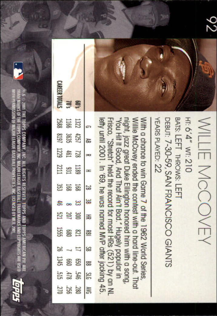 2001 Topps American Pie #92 Willie McCovey back image