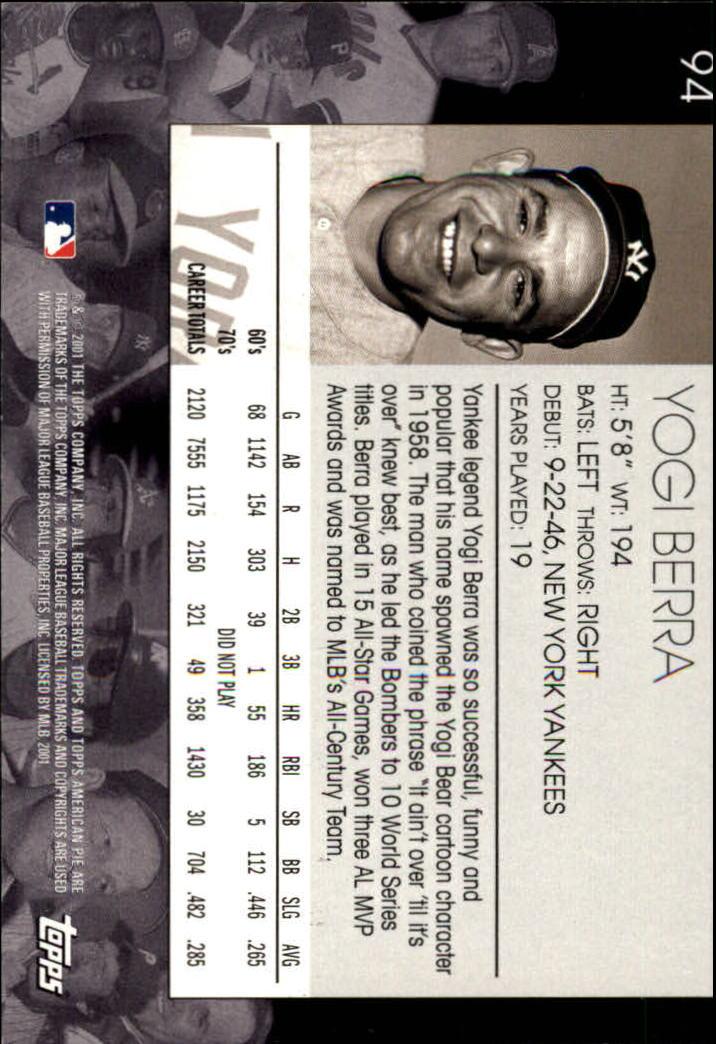 2001 Topps American Pie #94 Yogi Berra back image