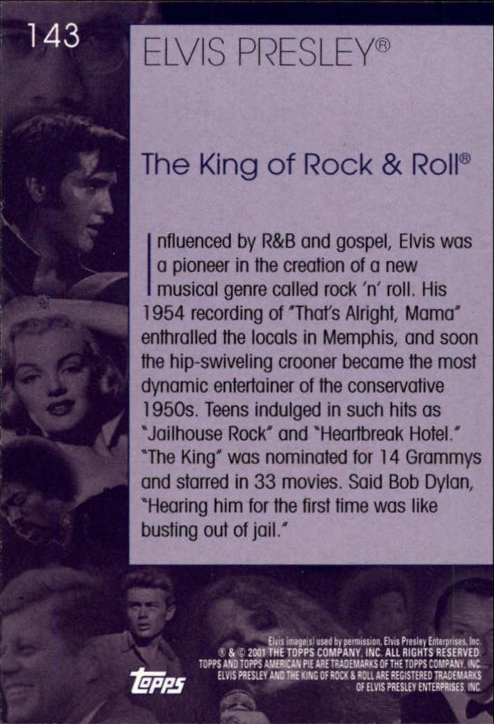2001 Topps American Pie #143 Elvis Presley back image