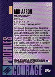 2001 Topps American Pie Profiles in Courage #PIC6 Hank Aaron back image