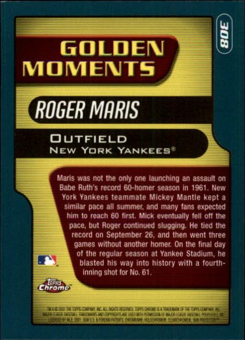 2001 Topps Chrome #308 Roger Maris GM back image